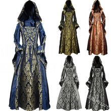 Gothic Medieval Dress Cosplay Carnival Halloween Costume for Women Retro Vestidos Court Long Robe Noble Princess Palace Party(China)