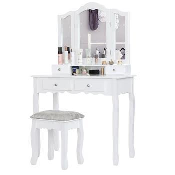 Toaletka do makijażu kosmetycznego z 3 lusterkami 4 szuflady i stołek sypialnia zestaw do makijażu stół meble do sypialni krzesło HWC tanie i dobre opinie CN (pochodzenie) Malowanie natryskowe Europa i Ameryka Montaż komoda Drewniane meble do domu 90 X 40 X 145cm China Dressers