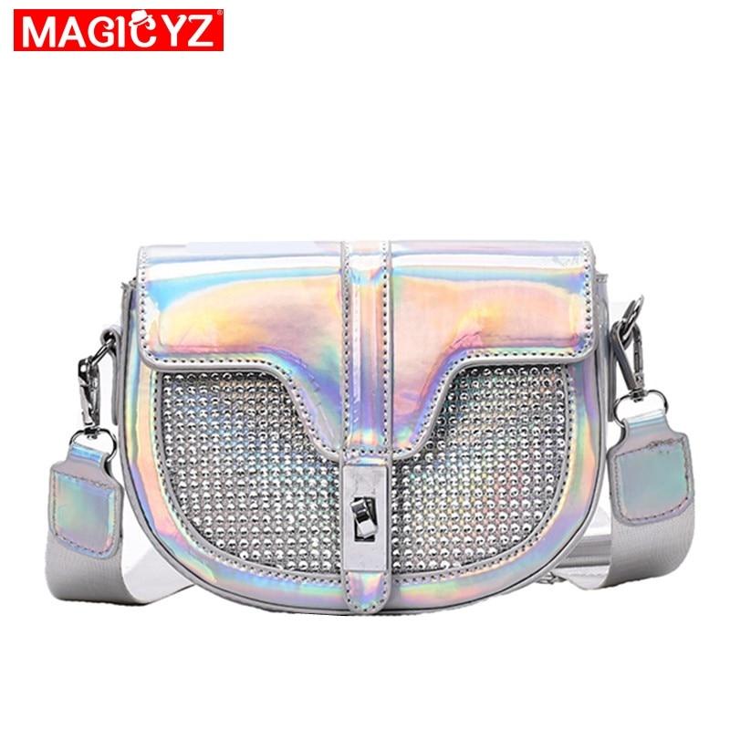 Luxury Rhinestones Women Crossbody Bag Semicircle Saddle Bags laser Leather Shoulder Bags For Ladies Handbags Designer small(China)