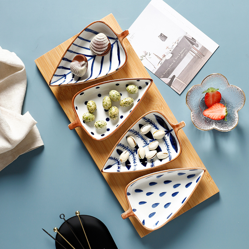 Bowl Plates Dishes Cake-Tray Sushi Snack Appetizers Leaf-Shape Ceramic Kitchen Small