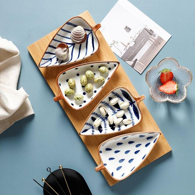 Creative Leaf Shape Seasoning Bowl Ceramic Multipurpose Small Plates Appetizers Snack Dish Sauce Kitchen Dishes Sushi Cake Tray