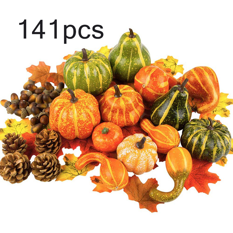Fall Autumn Decoration Pumpkins Harvest Props Artificial Fake Pumpkin Leaves For Halloween Harvest Festival Faux Decoration