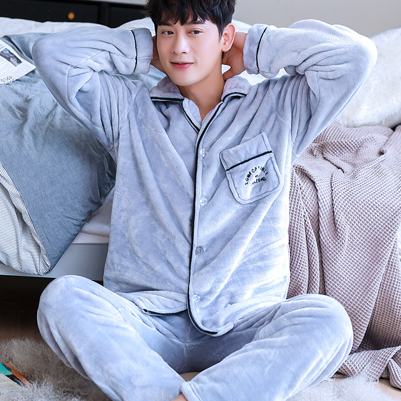 H5913 Youth Pajamas Set Men Thickened Flannel Warm Sleepwear Autumn Winter Male Long Sleeves Large Size Thermal Home Clothing