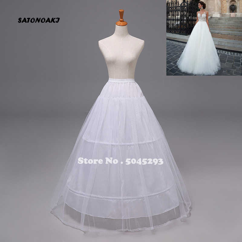 SATONOAKI Free shipping High Quality White 3 Hoops Petticoat Crinoline Slip Underskirt For Wedding Dress Bridal Gown In Stock