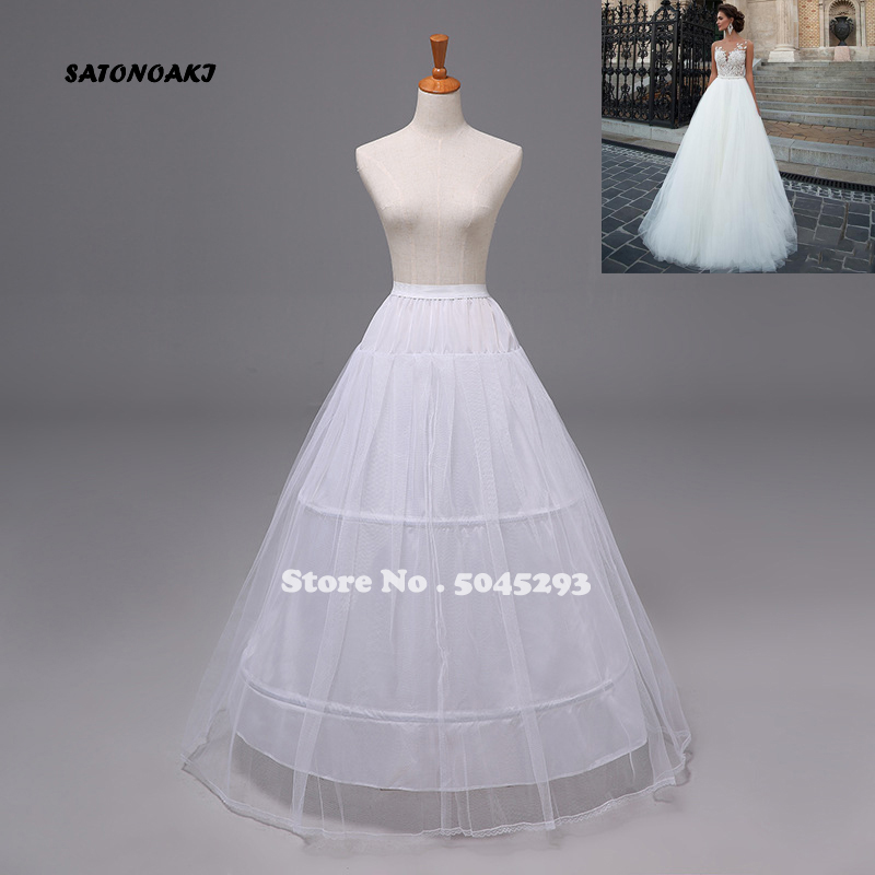 SATONOAKI High Quality Cheap White 3 Hoops Petticoat Crinoline Slip Underskirt For Wedding Dress Bridal Gown In Stock