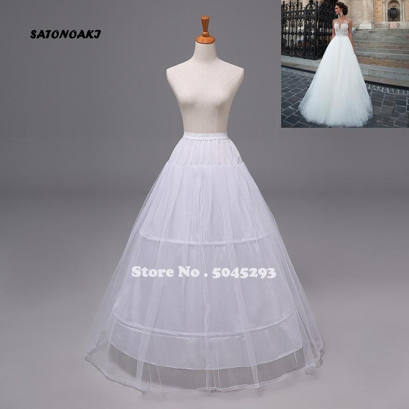 SATONOAKI High Quality Cheap White 3 Hoops Petticoat Crinoline Slip Underskirt For Wedding Dress Bridal Gown In Stock