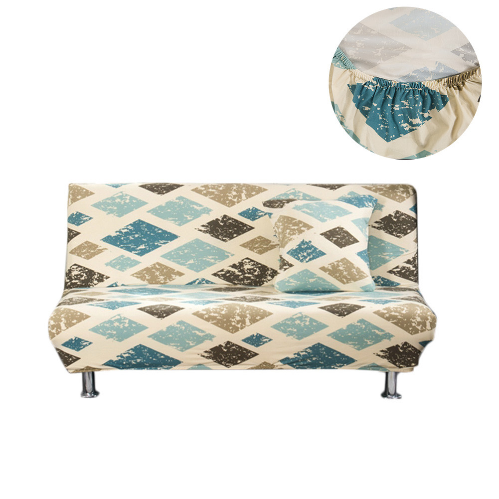 Retro Rhomboids Elastic Sofa Covers Slipcover Stretch Sofa Bed Cover All-inclusive Folding No Armrest Couch Cover 160 To 190cm