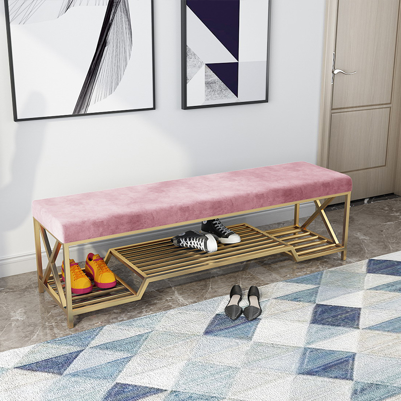 Luxury Iron Shoe Stool Home Sofa Door Long Bench With Shoe Rack Storage Shoes Stool Ottoman Pouf Customize Color