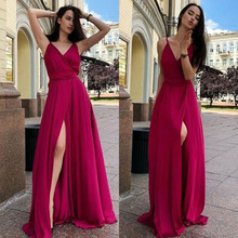 2019 Blue Sexy Satin Evening Dresses Long A-line Prom Gowns Slit Skirt V-neck Evening Party Dress Open Back Robe De Soiree graceful plunge neck slit open back midi dress for women