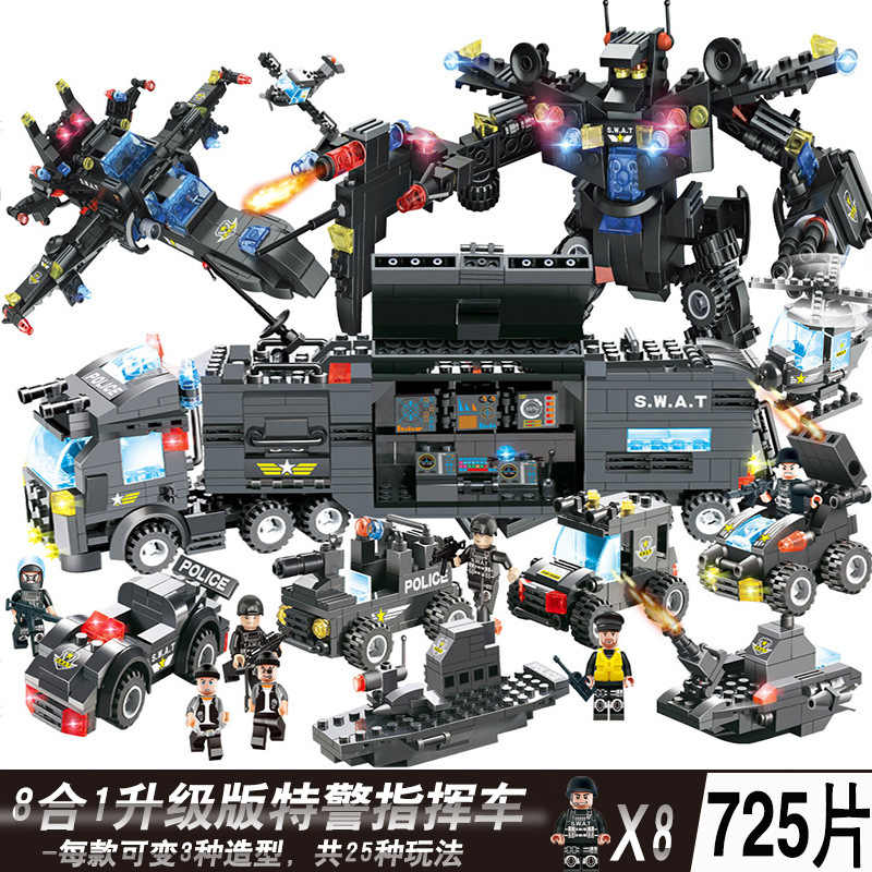 SWAT Stadt Polizei Station Hubschrauber Boot Bausteine Mini Ziegel Figuren Legoingly Spielzeug Für Kinder Jungen Geschenke