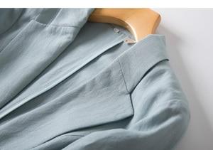 Image 5 - Women Linen Blazers Solid 3/4 Sleeved Single Button Office Lady Blazer 2019 NEW Fall Winter Out wear