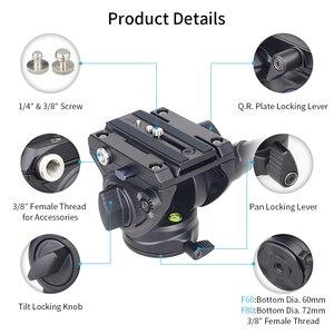 Image 3 - F60/F80 וידאו נוזל ראש פנורמי הידראולי DSLR מצלמה חצובה ראש עבור חדרגל מחוון מתכוונן ידית Manfrotto ש. R. צלחת