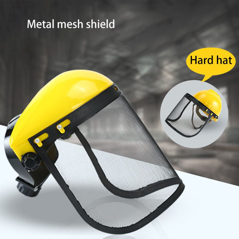 1Pc Safety Face Shield With Mesh Visor Logging Helmet Full Face Shield Protection Mask For Garden Weeding And Outdoor Fishing