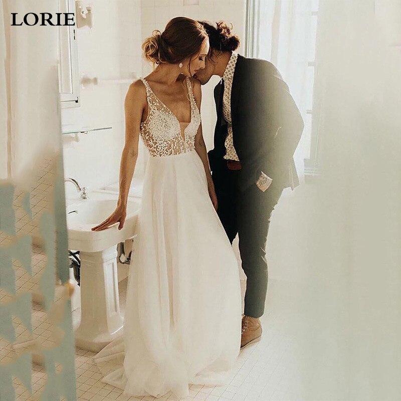 LORIE A Line Boho Wedding Dress With Pearls Bride Dress 2020 Backless Princess Long  Boho Floor Length Wedding Gown