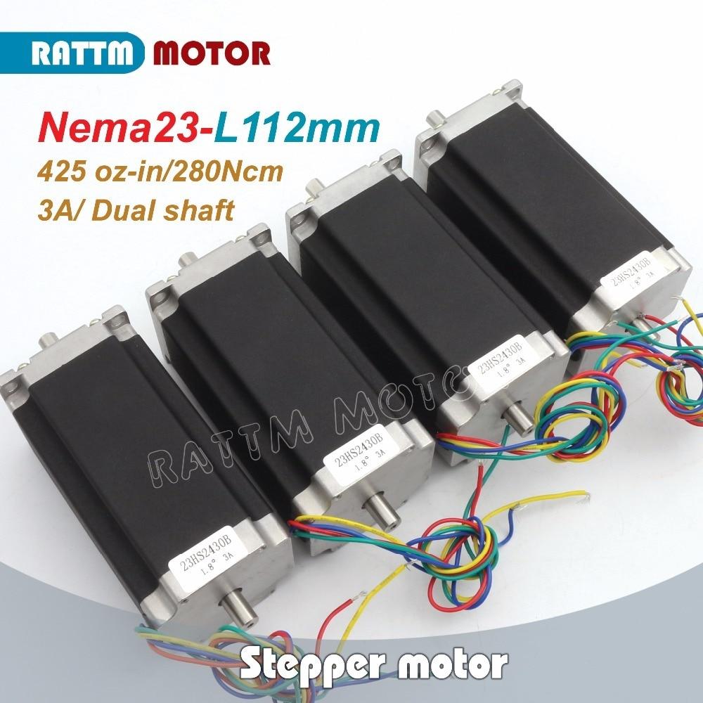 4pcs NEMA23 23HS2430B 425Oz-in Dual shaft 2.8N.m 112mm Length stepper motor stepping motor/3A for CNC Router Milling Machine