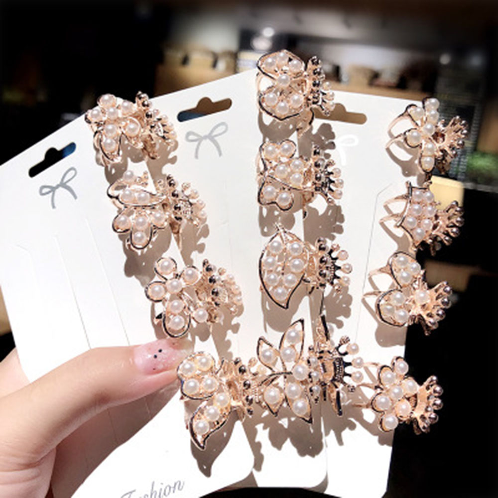 Luxury Mini Small Pearl Crystal Rhinestone Hair Claw Crabs Clips Hairpins Barrettes Hair Accessories For Women Headband Headwear