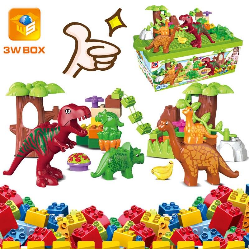 3WBOX Дино Valley строительных блоков в форме миньона Джорджа из мультфильма большие частицы динозавр животный мир модель игрушки Кирпичи совме...