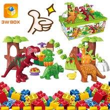 3wbox dino valley blocos de construção conjuntos grandes partículas dinossauro animal mundo modelo brinquedos tijolos compatível duplo presente natal