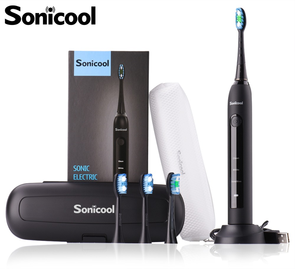 Sonicool 051B Ultrasonic Sonic Electric Toothbrush USB Rechargeable Tooth Brushes With 4 Pcs DuPont Replacement Heads