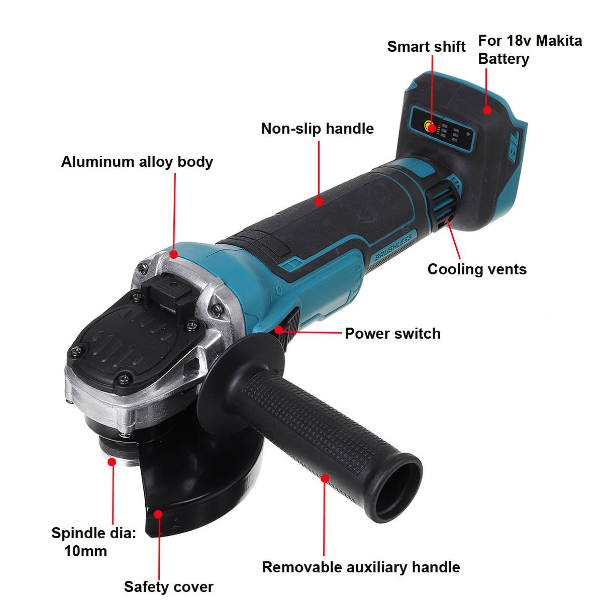 Cordless Impact Grinder 18V Battery Variable 100mm DIY For Machine Power Speed Tool Polisher 125 Cutting Makita Angle Brushless