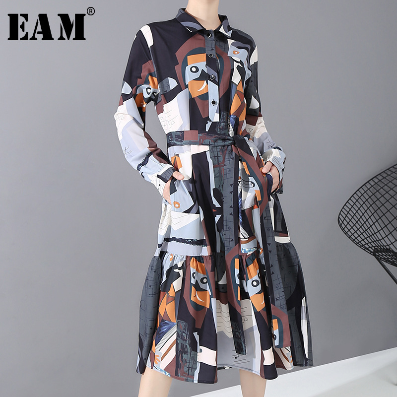[EAM] Women Pattern Spint Temperament Midi Shirt Dress New Lapel Long Sleeve Loose Fit Fashion Tide Spring Autumn 2020 1N249