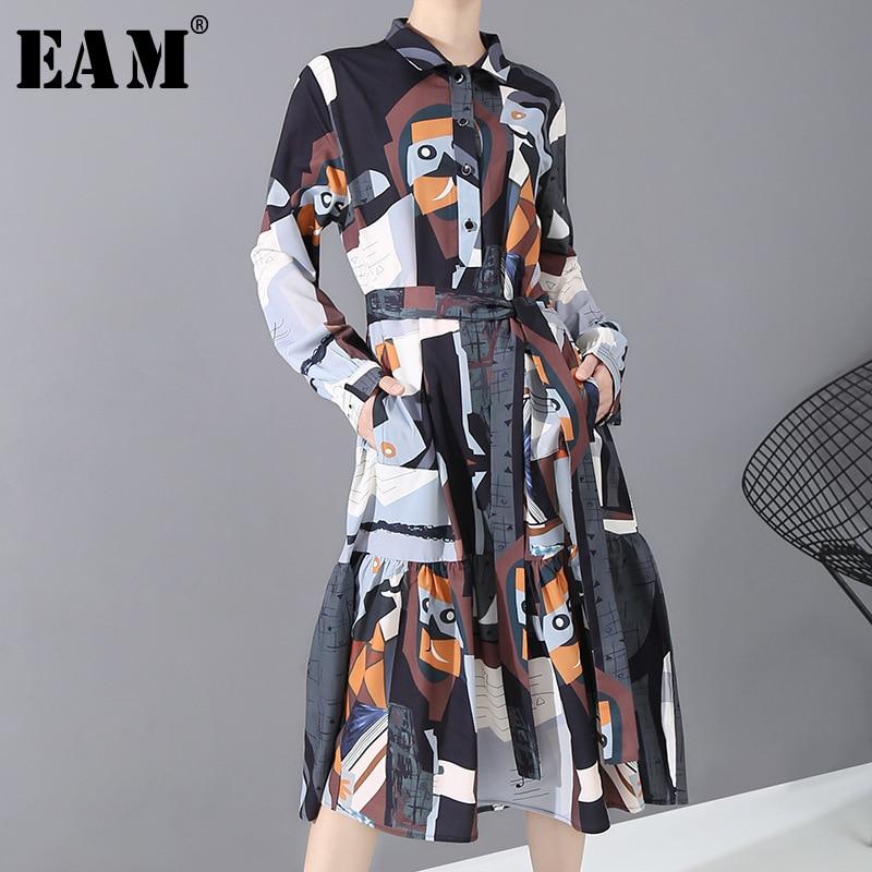 [EAM] Women Pattern Spint Temperament Midi Shirt Dress New Lapel Long Sleeve Loose Fit Fashion Tide Spring Autumn 2020 1N249