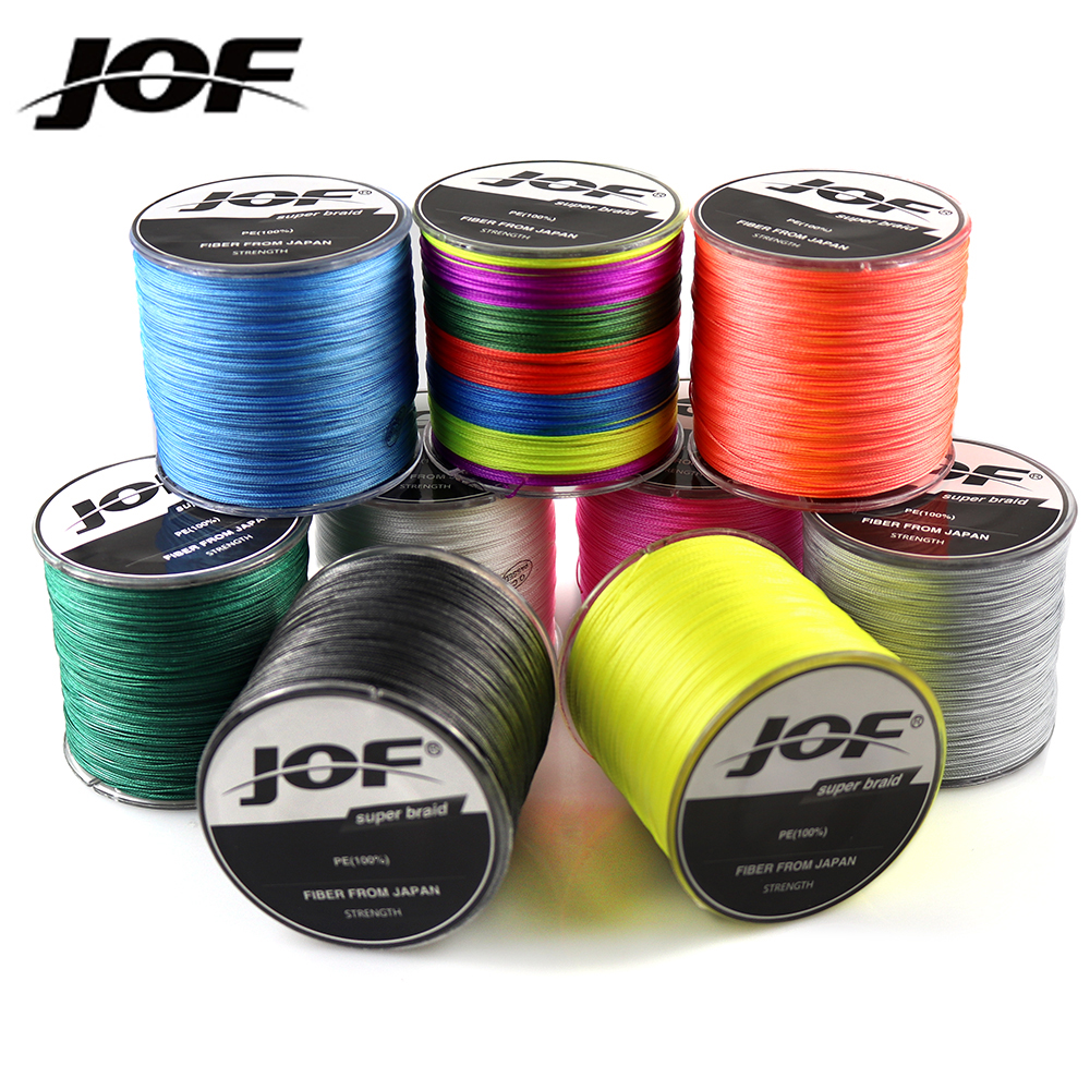 JOF Brand 500M 8 Strand 4 Strand 10-80lb PE Multifilament Braided Fishing Cord Fishing Line Fishing Thread Wire for Sea Fishing