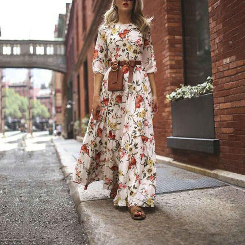 NEDEINS kadın moda çiçekler elbise çiçek Maxi Boho yaz plaj hafta sonu partisi yuvarlak boyun dokuz noktalı kollu seksi uzun elbise