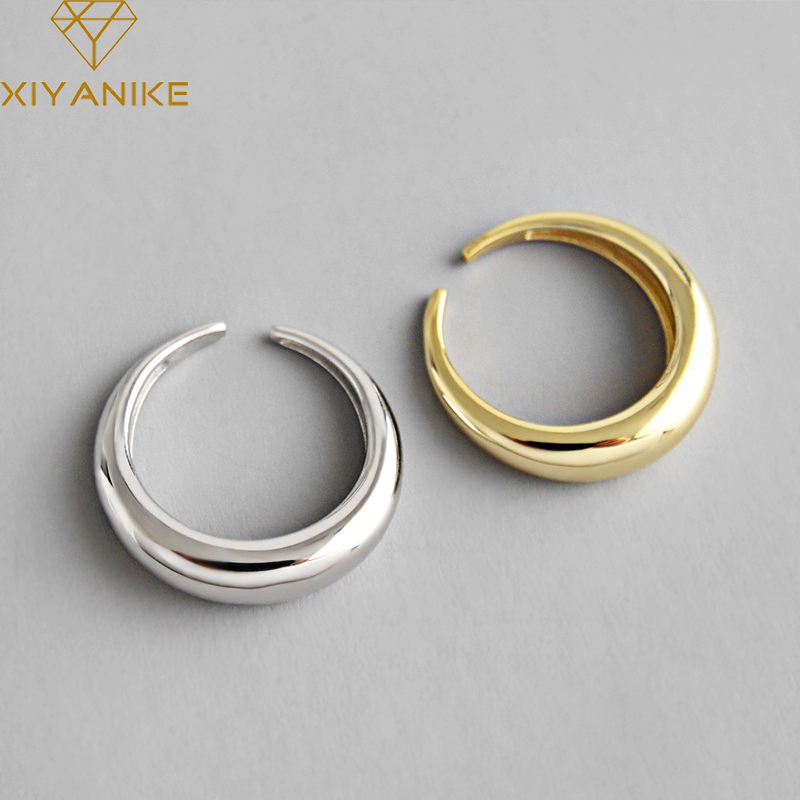 XIYANIKE 925 Sterling Silver Opening Ring Classic Simple Geometric Arc Handmade Jewelry Gifts For Women Size 16.9mm Adjustable