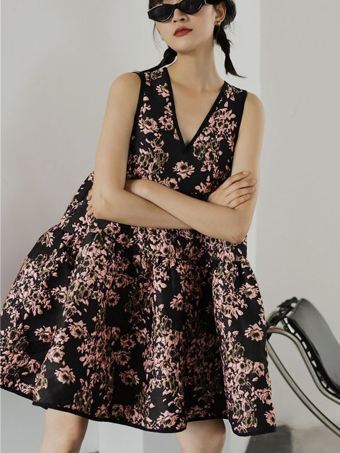 Nbpm Women's Dress High Waist Weet Sleeveless Flower Pattern New 2021 Winter Spring Women Dresses 4