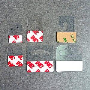 Image 1 - Kunststoff PVC PET Peghooks Hängen Hängen Tab J Haken auf Waren Paket Box Tasche Kleiderbügel Display Selbstklebende Stil 400 stücke