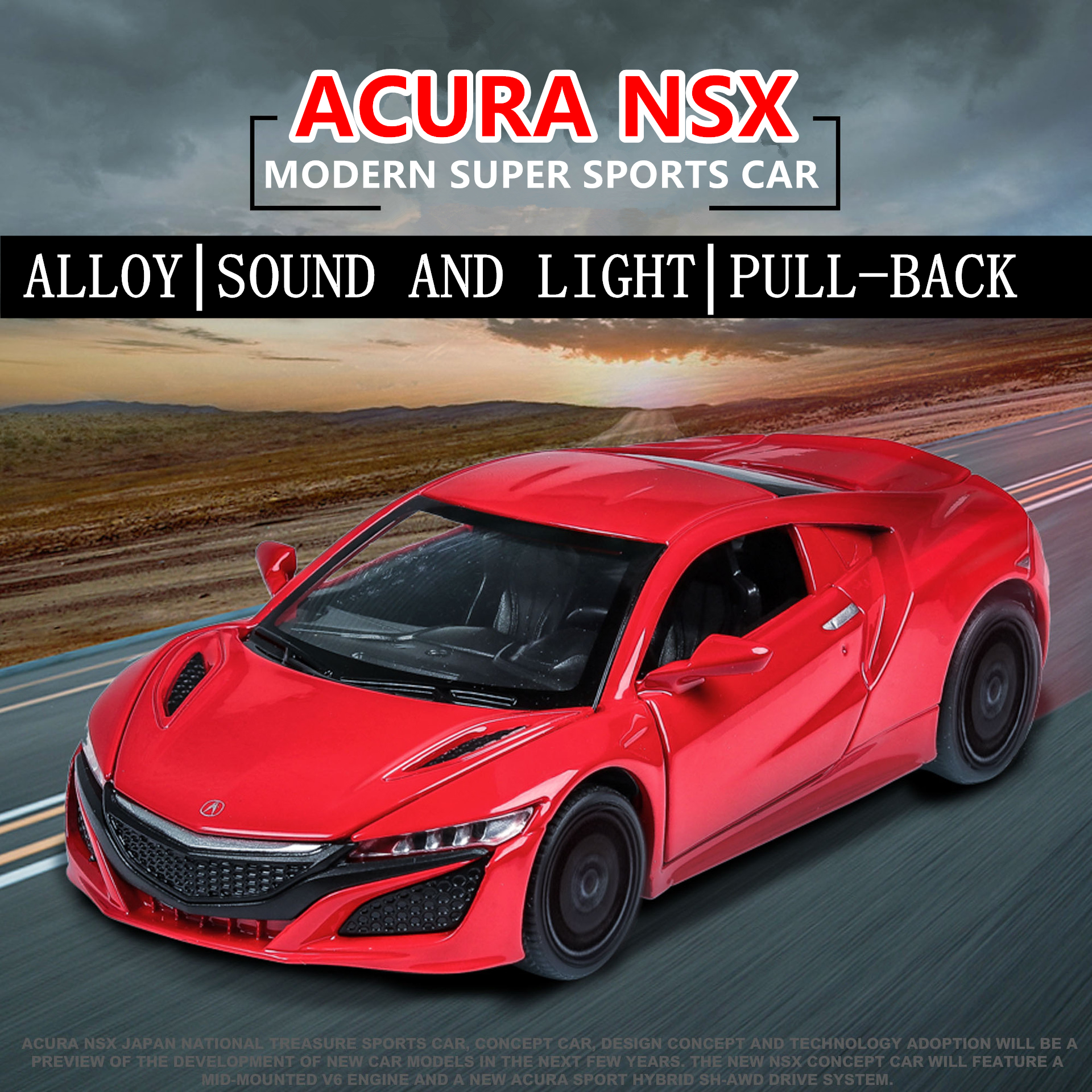 1 32 Honda Acura Nsx Sound And Light Door Open Alloy Children S Toy Car Model Collection Gift Pull Back Vehicle Diecasts Toy Vehicles Aliexpress