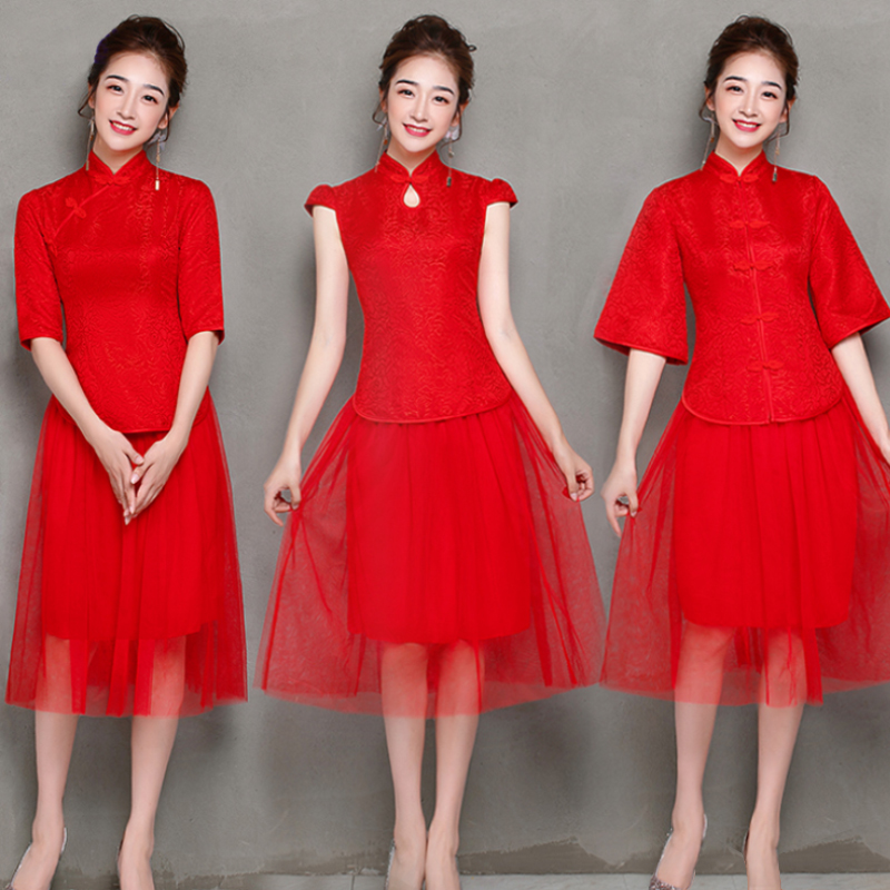 2 Pieces/set Elegant Tea-length Vintage Traditional Cheongsam Red Bridesmaid Dresses Cheongsam Party Wedding Guest Dress Qipao