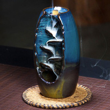 Waterfall Incense Burner Ceramic Incense Holder Ceramic Aromatherapy Furnace Lotus Smell Aromatic Home Office Incense Holder kovacs cheap smell