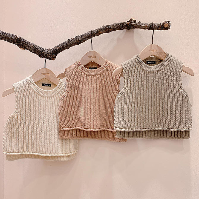 Children's Vest Sweater Warm Soft 2021 Spring New Kid Tops Knitted Solid Outfits Boys Girls Outwears Sleeveless O-neck Pullover 5