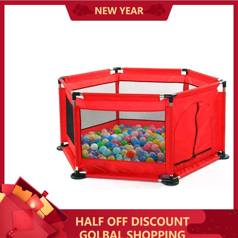 Portable Children's Playpen Baby Safety Fence Folding Play Fence 6 Months -3 Year Old Size:130*113*65cm