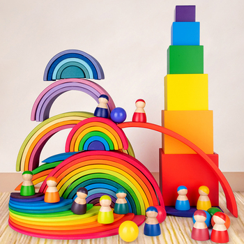 Baby Large Rainbow Stacker Wooden Toys For Kids Creative Rainbow Building Blocks Montessori Educational Toy Children montessori wooden rainbow blocks baby toys wooden toys for kids creative rainbow building blocks montessori educational toy