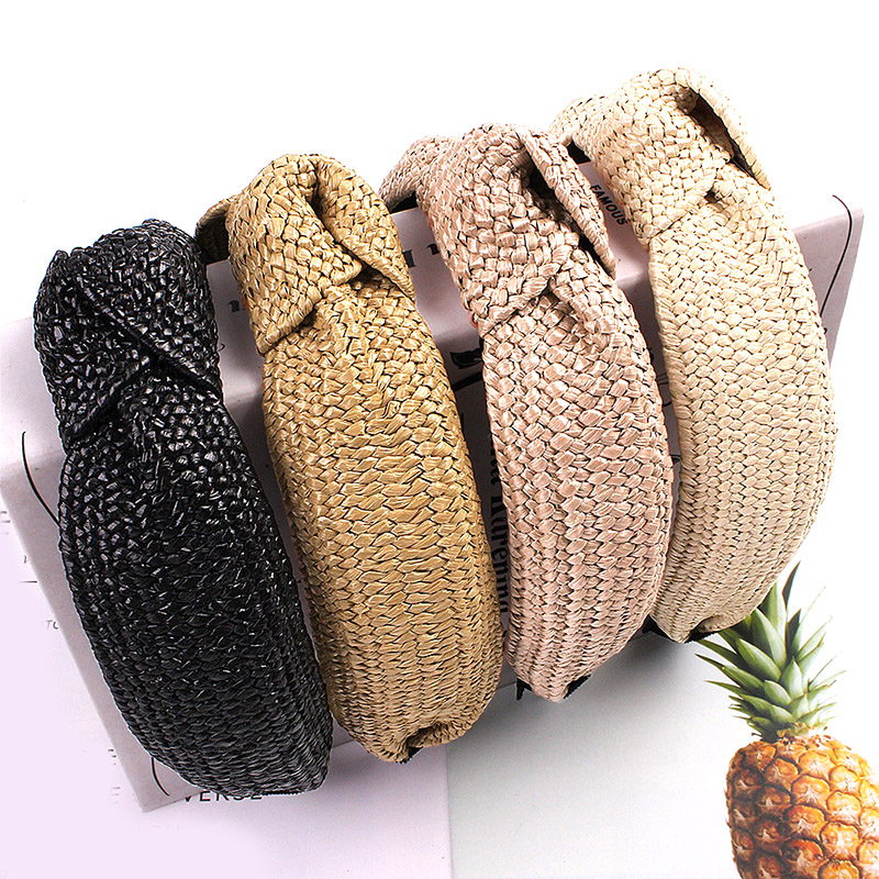 Women Handmade Weaving Straw Cross Knotted Headband 2019 New Fashion Bohemian Wide Hair Bands Hair Hoop Turban Hair Accessories