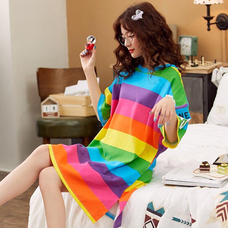 Caiyier Cotton Rainbow Nightdress Summer Ladies O-Neck Short Sleeve Sleepwear   Sleepshirts   Girls Casual   Nightgown   Plus Size M-3XL