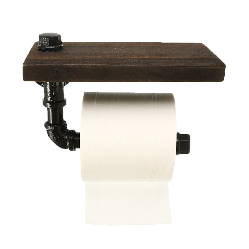 Bathroom Shelves Industrial Retro Iron Toilet Paper Holder Hotel Roll Paper Hanging Rack Wooden Shelf With Phone Holder