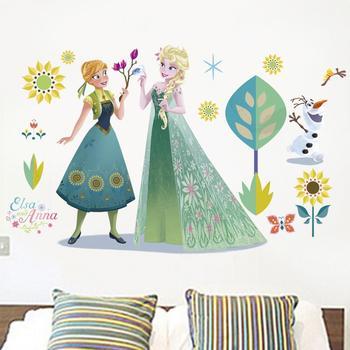 Cartoon Princess Elsa Wall Stickers for Kids Rooms Girls Bedroom Poster Vinyl DIY Mural Art Adesivo de parede Decal Baby Nursery 25