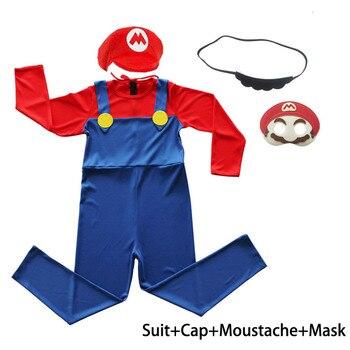 Kids Gamer 80s PLumber Mate Boy Cosplay Fancy Dress Costume Age 3-8 3