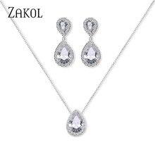 ZAKOL Shiny Water Drop Cubic Zirconia Crystal Earrings Necklace Set for Women Bridal Wedding Party Jewelry FSSP3037