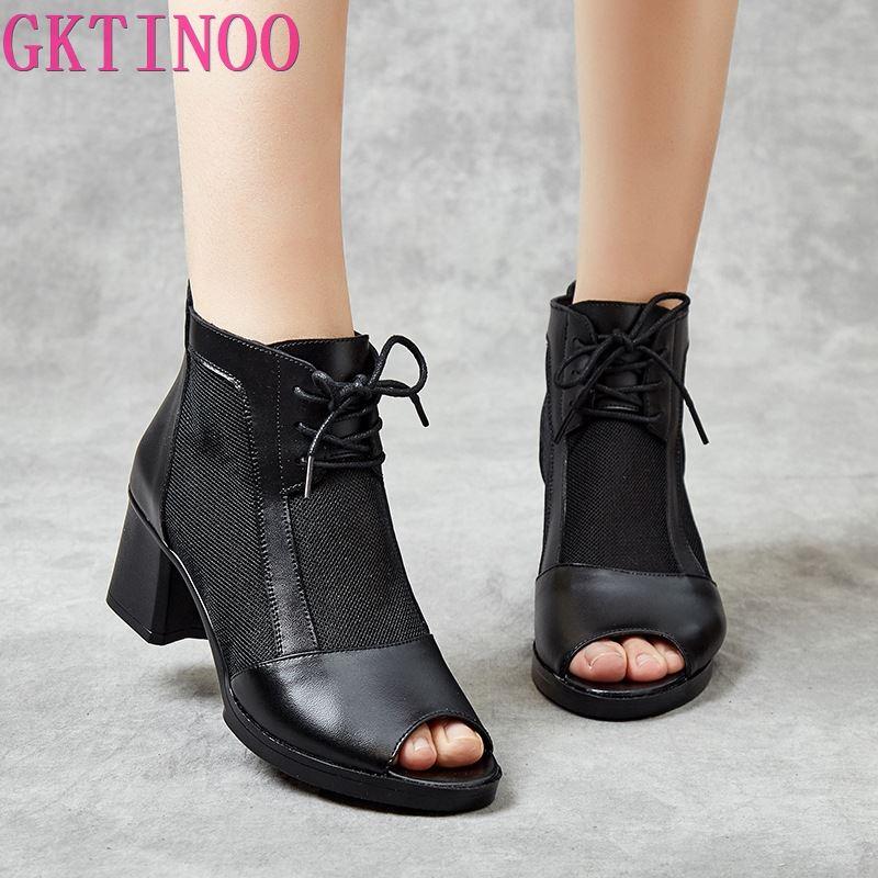 GKTINOO Women Sandals 2020 Summer Thick Heel Gladiator Shoes Women Peep Toe Genuine Leather Mesh Zipper High Heels Sandals