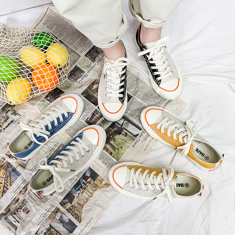 Autumn 1970s Low Top Engraved Canvas Shoes Women's South Korea Base Sneakers Japanese-style Retro Shoes With Mandarin Ducks