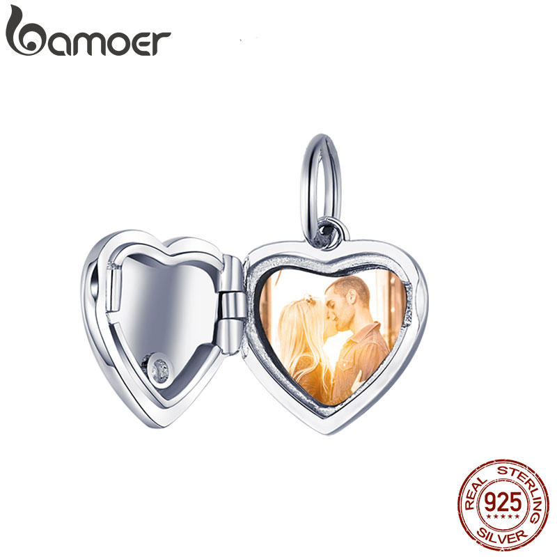 Bamoer Custom Photo Personalized Heart Pendant Charm For Original Silver Bracelet And Necklace Gifts Customized Jewelry BSC102
