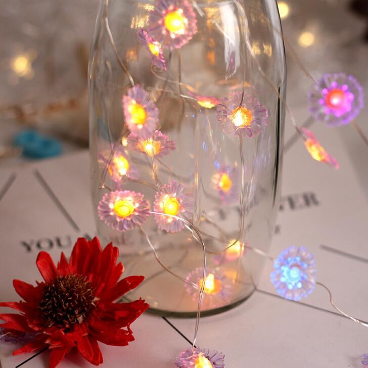 Led Copper Wire Lamp Modelling Lamp String Three-dimensional Small Daisy Decorative Lamp Creative Romance Small Lamp Festival Ch