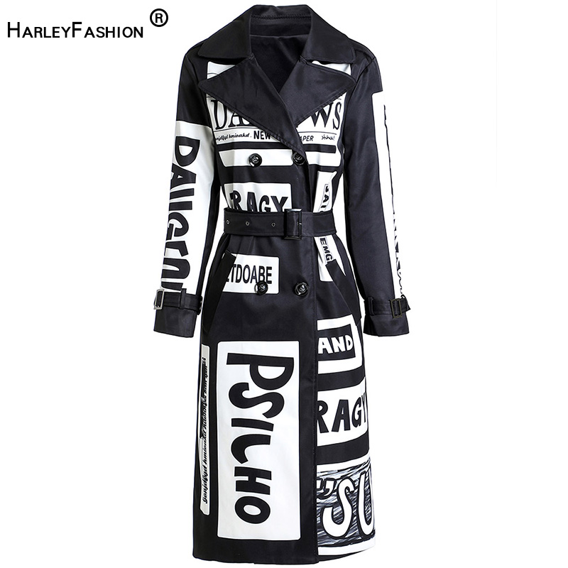 HarleyFashion 2020 Autumn Winter Women Long Coat Letters Printing High Street Stylish Graffiti Casual Quality Windbreaker Trench
