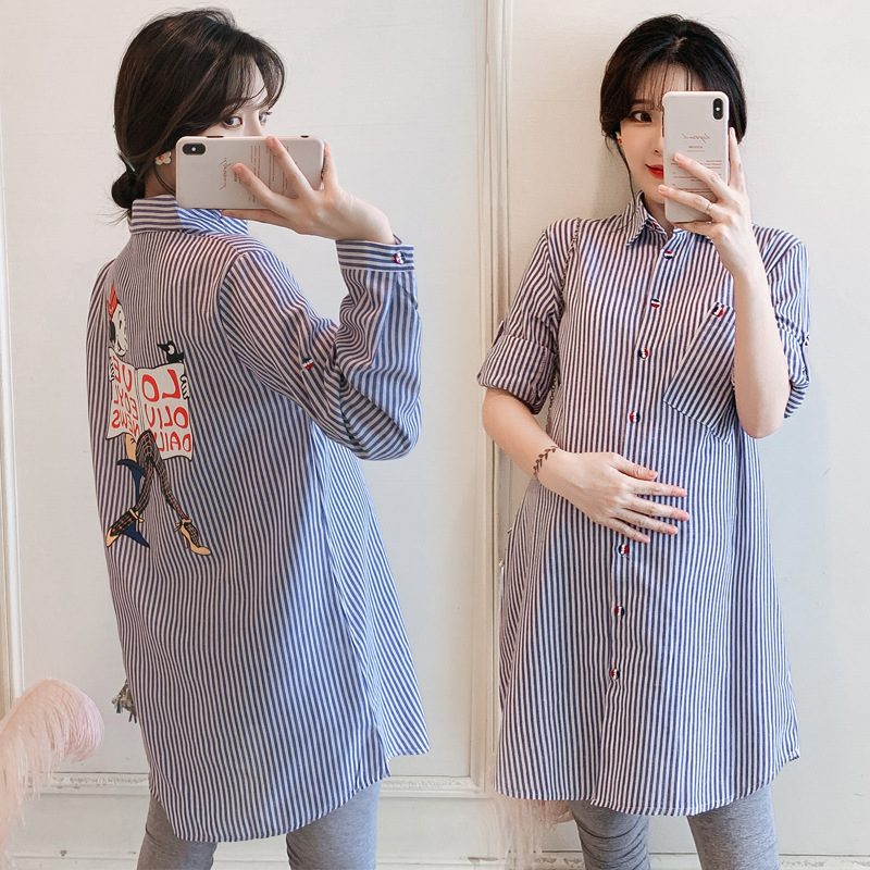 6098# Autumn Striped Cotton Maternity Blouses A Line Long Sleeve Loose Shirts Clothes for Pregnant Women Spring Pregnancy Tops
