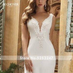 Image 3 - Vestido de Noiva Sexy zroszony satynowa suknia ślubna dekolt bez rękawów Backless syrenka BECHOYER V152 dostosowana suknia ślubna
